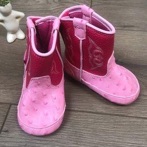 BLAZIN ROXX Pink Infant Faux Ostrich Cowboy Boots